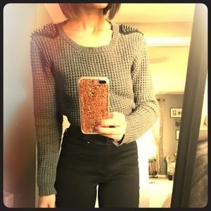 Knit sweater with spike shoulders!